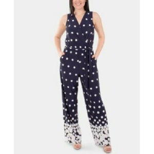 Ny Collection Women's Polka Dot Printed Tie-Waist